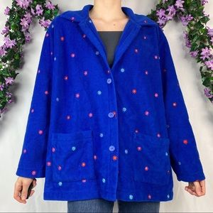 vintage blue flower embroidered teddy coat